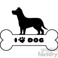 Royalty Free RF Clipart Illustration Dog Black Silhouette Over Bone With Text And Love Paw Print Vector Illustration Isolated On White Background