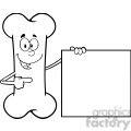 royalty free rf clipart illustration black and white happy bone cartoon mascot character showing a blank sign gif, png, jpg, eps, svg, pdf