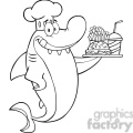 Royalty Free RF Clipart Illustration Black And White Chef Shark Cartoon Character Holding A Plate Of Hamburger And French Fries