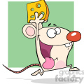 6950 Royalty Free RF Clipart Illustration Happy White Mouse Cartoon Mascot Character Running With Cheese