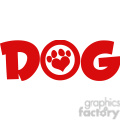 Royalty Free RF Clipart Illustration Dog Red Text With Love Paw Print Vector Illustration Isolated On White Background