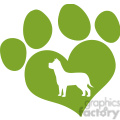 royalty free rf clipart illustration green love paw print with dog silhouette  gif, png, jpg, eps, svg, pdf