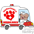 Royalty Free RF Clipart Illustration Afro American Doctor Driving Veterinary Ambulance