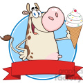 royalty free rf clipart illustration happy cow cartoon mascot character holding a ice cream circle banner gif, png, jpg, eps, svg, pdf