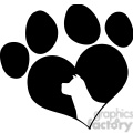 royalty free rf clipart illustration black love paw print with dog head silhouette  gif, png, jpg, eps, svg, pdf