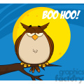 royalty free rf clipart illustration owl on tree in the night with text  gif, png, jpg, eps, svg, pdf