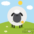 8231 Royalty Free RF Clipart Illustration Cute Black Head Sheep With Flower On A Hill Modern Flat Design Vector Illustration
