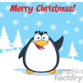 royalty free rf clipart illustration merry christmas greeting with funny penguin cartoon character waving gif, png, jpg, eps, svg, pdf