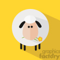 8226 Royalty Free RF Clipart Illustration Cute White Sheep With A Flower Modern Flat Design Vector Illustration