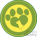 illustration love paw print green circle banner design with dog head silhouette  gif, png, jpg, eps, svg, pdf
