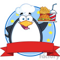 Royalty Free RF Clipart Illustration Chef Penguin Holding A Platter With French Fries And A Soda Circle Banner