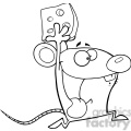 Royalty Free RF Clipart Illustration Black and White Happy Mouse Cartoon Mascot Character Running With Cheese