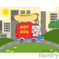 royalty free rf clipart illustration happy hot dog vendor driving truck in the town  gif, png, jpg, eps, svg, pdf