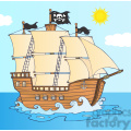 7204 Royalty Free RF Clipart Illustration Pirate Ship Sailing Under Jolly Roger Flag