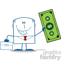 Royalty Free RF Clipart Illustration Lucky Businessman With Briefcase Holding A Dollar Bill Monochrome Cartoon Character