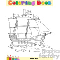 Royalty Free RF Clipart Illustration Pirate Ship Coloring Book Page