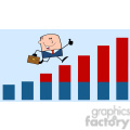 royalty free rf clipart illustration businessman giving a thumb up and running over growing bar chart cartoon character on background gif, png, jpg, eps, svg, pdf