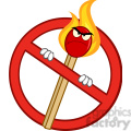 Royalty Free RF Clipart Illustration Stop Fire Sign With Angry Burning Match Stick Cartoon Mascot Character