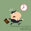 8272 Royalty Free RF Clipart Illustration Hurried Manager Running Past A Clock Modern Flat Design Vector Illustration