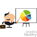 8351 Royalty Free RF Clipart Illustration Happy Manager Pointing Progressive Pie Chart On A Board Flat Style Vector Illustration