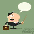 8346 Royalty Free RF Clipart Illustration Manager Holding A Pointer Stick Flat Style Vector Illustration With Speech Bubble