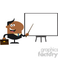 8357 Royalty Free RF Clipart Illustration African American Manager Pointing To A White Board Flat Style Vector Illustration