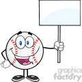 Happy Baseball Ball Holding A Blank Sign