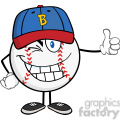 winking baseball ball cartoon mascot character holding a thumb up  gif, png, jpg, eps, svg, pdf