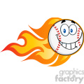 smiling flaming baseball ball cartoon character  gif, png, jpg, eps, svg, pdf