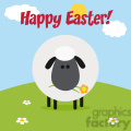 8232 royalty free rf clipart illustration cute black head sheep with flower on a hill modern flat design vector illustration with text gif, png, jpg, eps, svg, pdf