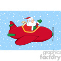 8202 Royalty Free RF Clipart Illustration Santa Claus Flying His Christmas Plane In The Snow And Waving