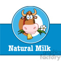 royalty free rf clipart illustration cartoon label with cow and text  gif, png, jpg, eps, svg, pdf