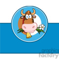 royalty free rf clipart illustration cartoon label with cow  gif, png, jpg, eps, svg, pdf