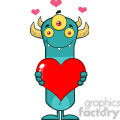 8925 Royalty Free RF Clipart Illustration Smiling Horned Blue Monster Cartoon Character Holding A Valentine Love Heart Vector Illustration Isolated On White