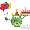 8916 Royalty Free RF Clipart Illustration Funny Green Monster Holding Up A Birthday Cake Vector Illustration Isolated On White vector clip art image