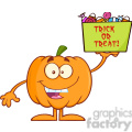 Royalty Free RF Clipart Illustration Smiling Halloween Pumpkin Mascot Character Holds A Box With Candys And Text vector clip art image