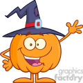 8889 Royalty Free RF Clipart Illustration Happy Witch Pumpkin Cartoon Character Waving Vector Illustration Isolated On White vector clip art image