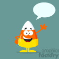 8870 Royalty Free RF Clipart Illustration Funny Candy Corn Flat Design Waving With Speech Bubble Vector Illustration With Bacground