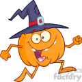 8897 Royalty Free RF Clipart Illustration Crazy Witch Pumpkin Cartoon Character Running Vector Illustration Isolated On White vector clip art image