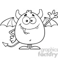 8957 Royalty Free RF Clipart Illustration Black And White Happy Devil Cartoon Character Waving Vector Illustration Isolated On White vector clip art image