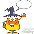 8886 Royalty Free RF Clipart Illustration Happy Candy Corn Cartoon Character With A Witch Hat Waving Vector Illustration Isolated On White With Speech Bubble vector clip art image