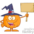 8895 Royalty Free RF Clipart Illustration Happy Witch Pumpkin Cartoon Character Holding Up A Blank Wood Sign Vector Illustration Isolated On White vector clip art image