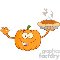 Royalty Free RF Clipart Illustration Smiling Pumpkin Cartoon Mascot Character Holding Perfect Pie vector clip art image