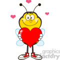 8380 Royalty Free RF Clipart Illustration Smiling Bee Cartoon Mascot Character Holding Up A Red Heart Vector Illustration Isolated On White