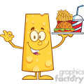 8510 Royalty Free RF Clipart Illustration Cheese Cartoon Character Holding A Platter With Burger, French Fries And A Soda Vector Illustration Isolated On White