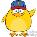 8613 royalty free rf clipart illustration smiling yellow chick cartoon character with baseball hat waving vector illustration isolated on white gif, png, jpg, eps, svg, pdf