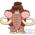 8750 Royalty Free RF Clipart Illustration Mammoth Cartoon Character Vector Illustration Isolated On White