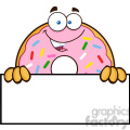 8669 Royalty Free RF Clipart Illustration Donut Cartoon Character With Sprinkles Over A Sign Vector Illustration Isolated On White
