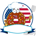 8693 Royalty Free RF Clipart Illustration Chocolate Chef Donut Cartoon Character With Sprinkles Over A Circle Blank Label In Front Of Flag Of USA Vector Illustration Isolated On White