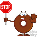 8708 Royalty Free RF Clipart Illustration Smiling Chocolate Donut Cartoon Character Holding A Stop Sign Vector Illustration Isolated On White